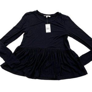 Hooked Up Babydoll Blouse Top XS Black Juniors'
